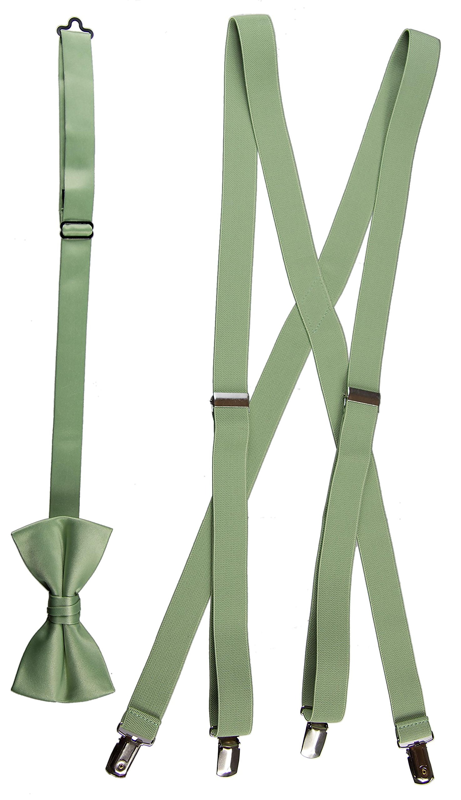 Tuxgear Boys Matching Adjustable Suspender and Bow Tie, Sage Green, Youths 40'' (Sage Green, Youths 40'')