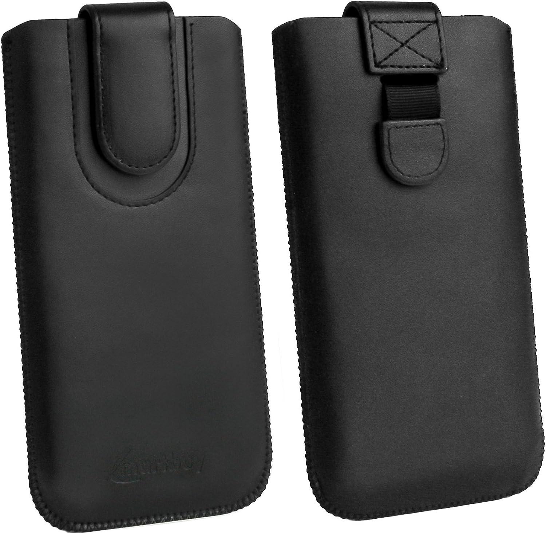 avec Languette dExtraction Compatible avec Smartphones List/és Ci-Dessous Taille LM5 emartbuy Noir//Orange Etui Coque Pochette en Cuir PU