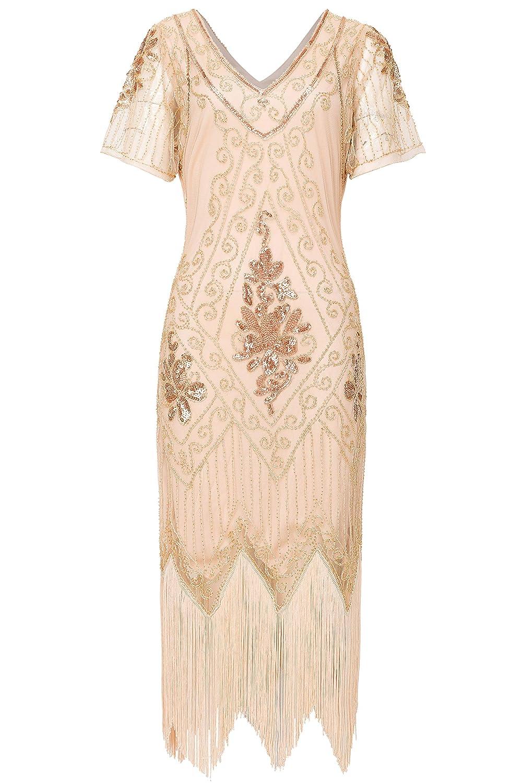 Amazon.com: BABEYOND Vestido de lentejuelas con flecos de ...