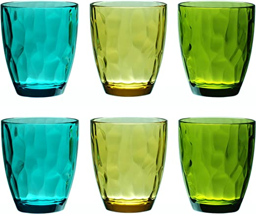 QG Set of 6 Clear Acrylic Plastic BPA-Free Drinking Beer Glass Juice Cup 19 oz.