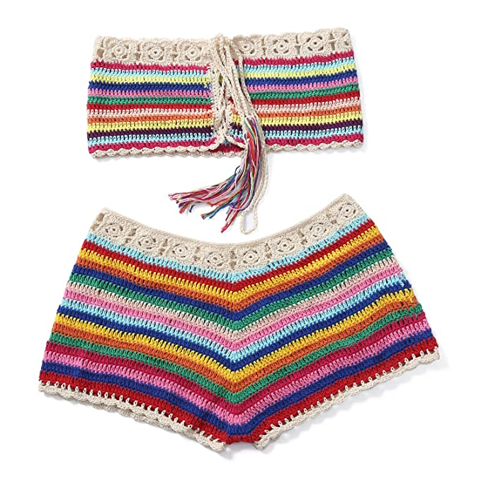 elegant appearance outlet for sale good service Women Crochet Bikini Set Knit 2PCS Bathing Suit Swimsuit Beachwear