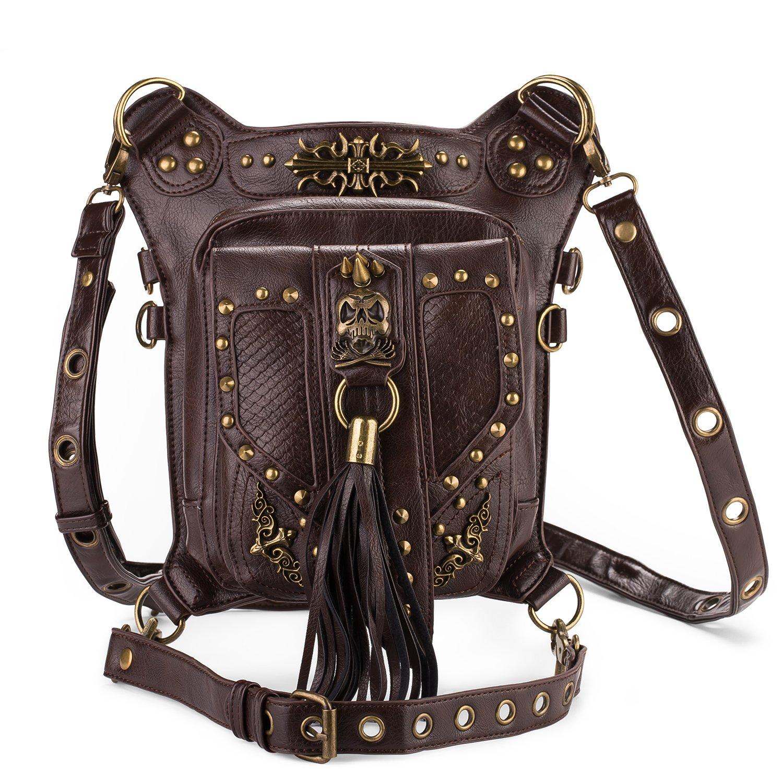 Cestlafit Frauen Herren Leder Steampunk Tasche Vintage Schulter Steampunk Handtasche Gothic Taille Packs Bein Tasche, Fleur de Lys & Chain, CFB004-1