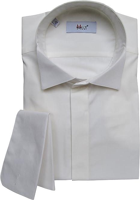 Camisa para hombre mmuga Smoking/kläppchen Cuello y sobres Manguitos, color crema/ivory, tallas S – 5 x l: Amazon.es: Ropa y accesorios