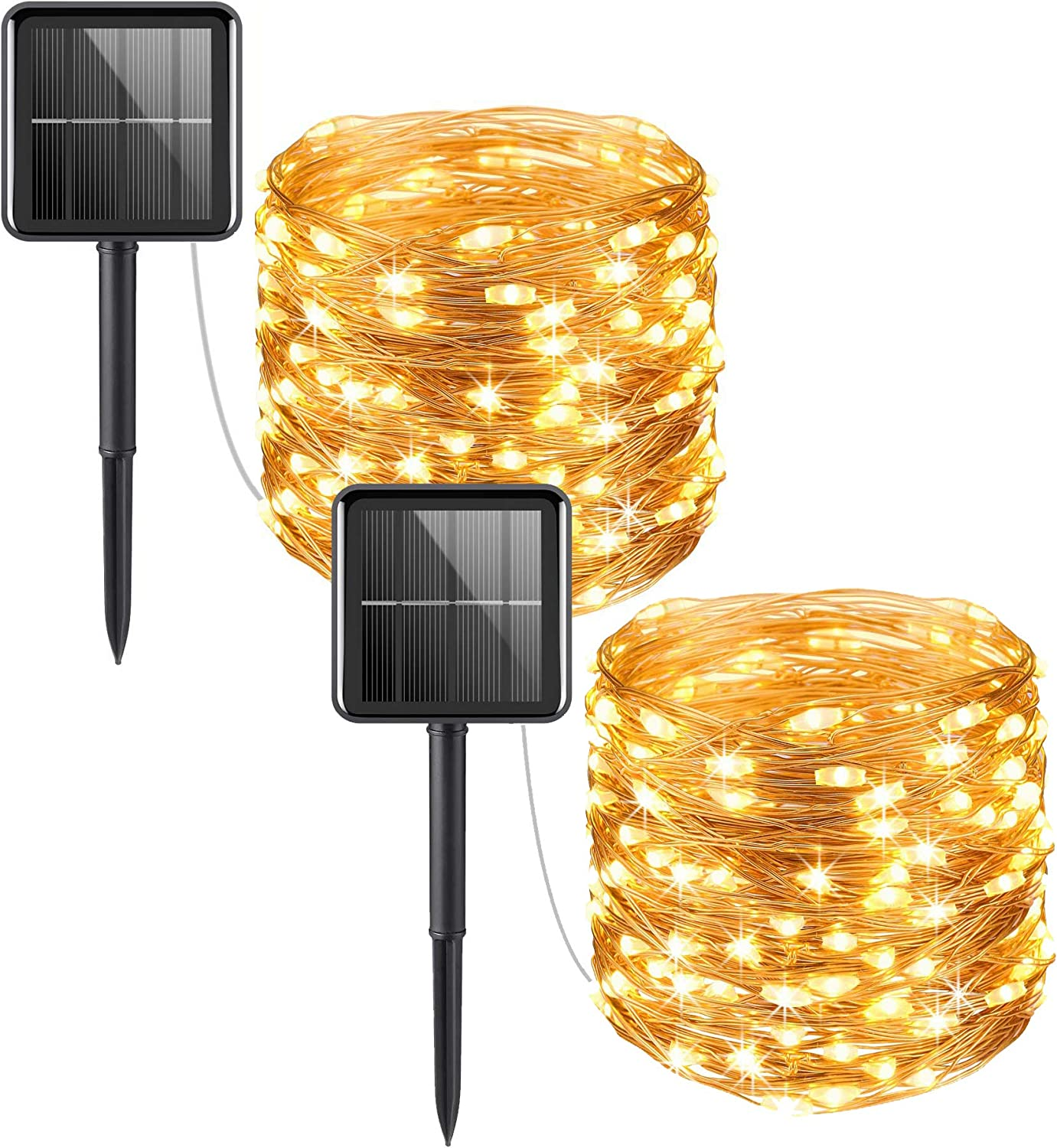 Windfirewheels 2 Pack Solar Powered Fairy Lights 100 LED 33FT 8 Modes Copper Wire Light Waterproof Outdoor Starry String Lights Amazing for Gardens Patio Gate Yard Lawn Party (2 Pack WW)