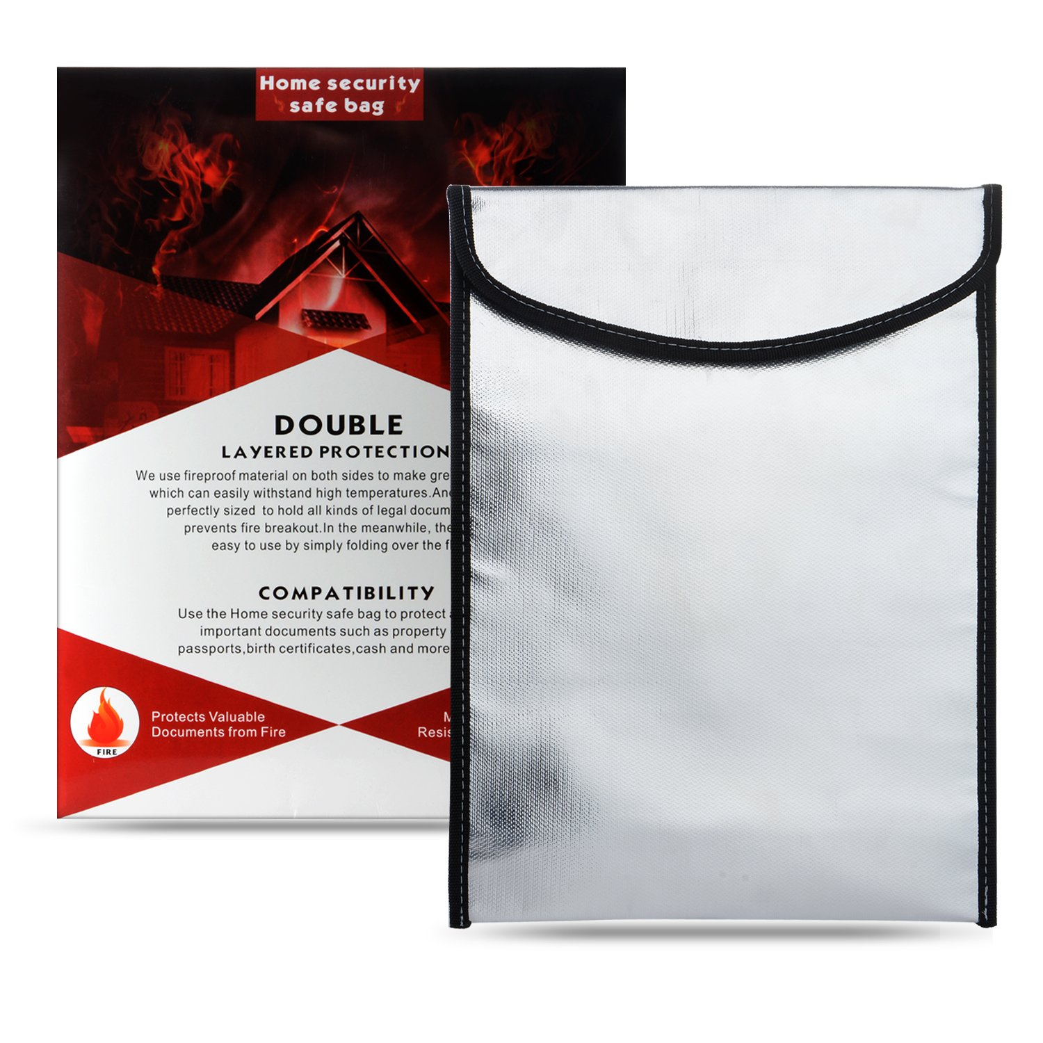 Fire Resistant Waterproof Document Bag, 13'' x 10'' Non-itchy Heavy Duty Fireproof Thread Document Bag for Money, Birth Certificate, Passport, Titles, Jewelry & Important Documents