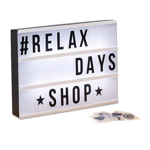 Relaxdays Caja de luz led con 85 letras y símbolos, Blanco y Negro, 22 x 30 x 4,3 cm