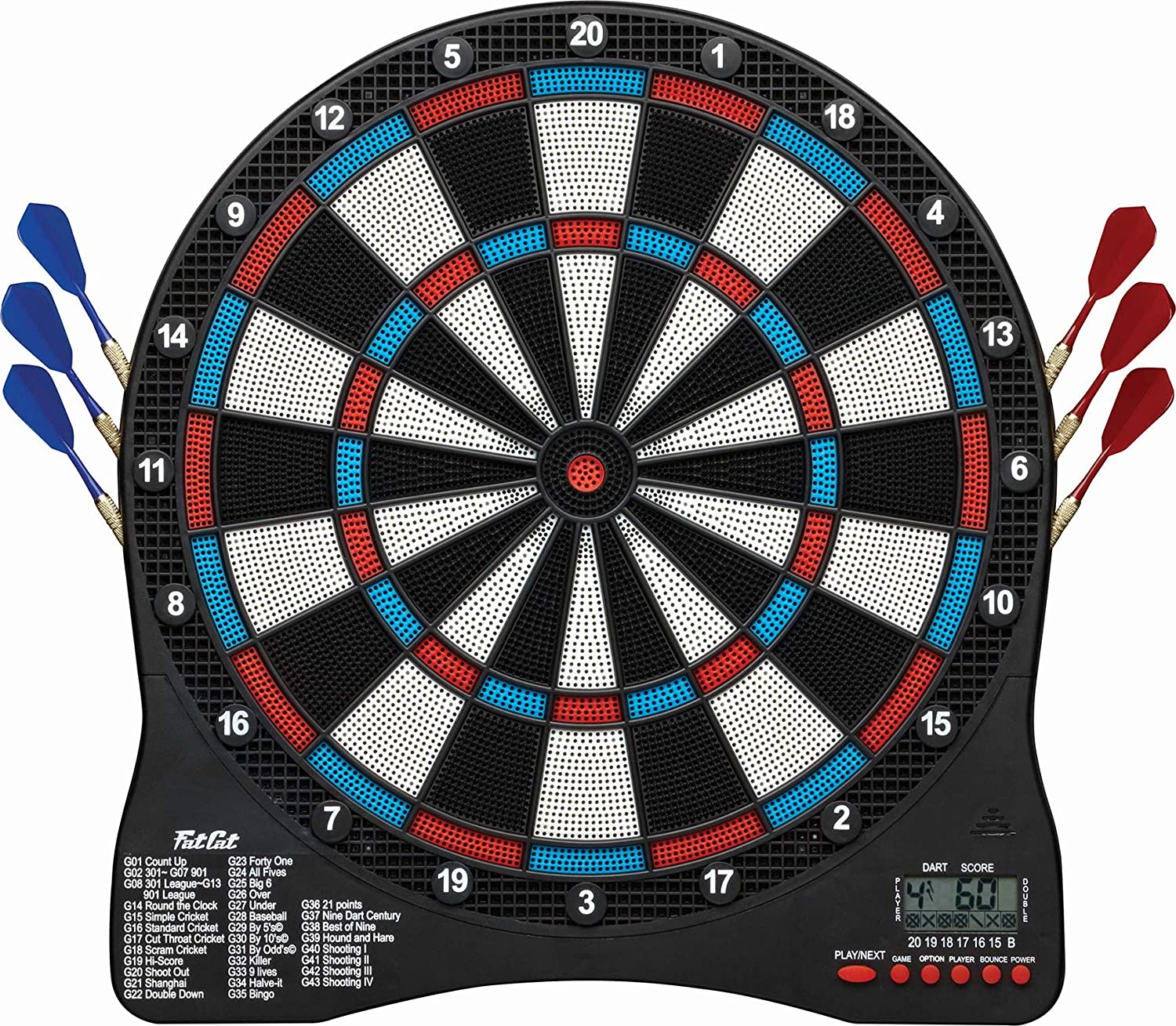 Fat Cat Sirius 13 5 Electronic Dartboard Compact Size For Easy Install Backlit Cricket Scoreboard Easy To Use Button Interface Optional Double