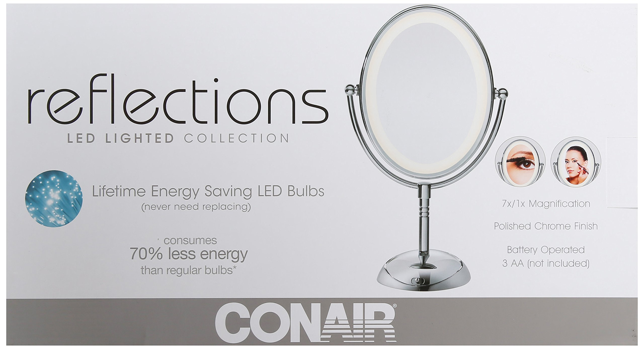 Conair Oval Shaped LED Double-Sided Lighted Makeup Mirror; 1x/7x magnification; Polished Chrome Finish by Conair (Image #7)