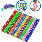 YOUSHARES 100 Pcs Multi-Color Dice Set – 10 Assorted Transparent Color with 10 Pcs Each, 16mm D6 Standard Dice with Extra Carrying Bag, Perfect for Board & Dice Games and Other Casino Games