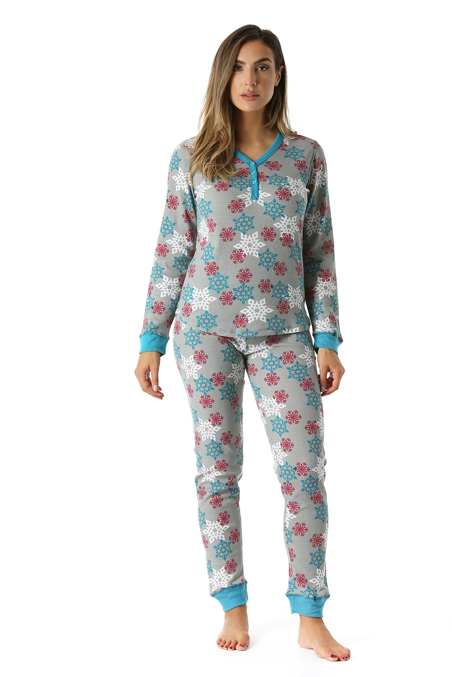 #followme 6373-10167-GRY-XXL Women's Printed Henley Thermal Underwear Set With Jogger Pant