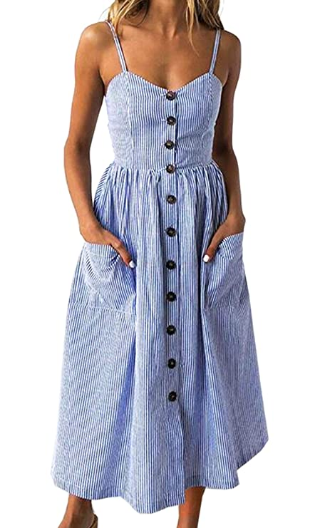 Angashion Women's Dresses-Summer Floral Bohemian Spaghetti Strap Button Down Swing Midi Dress with Pockets Navy Blue Striped S