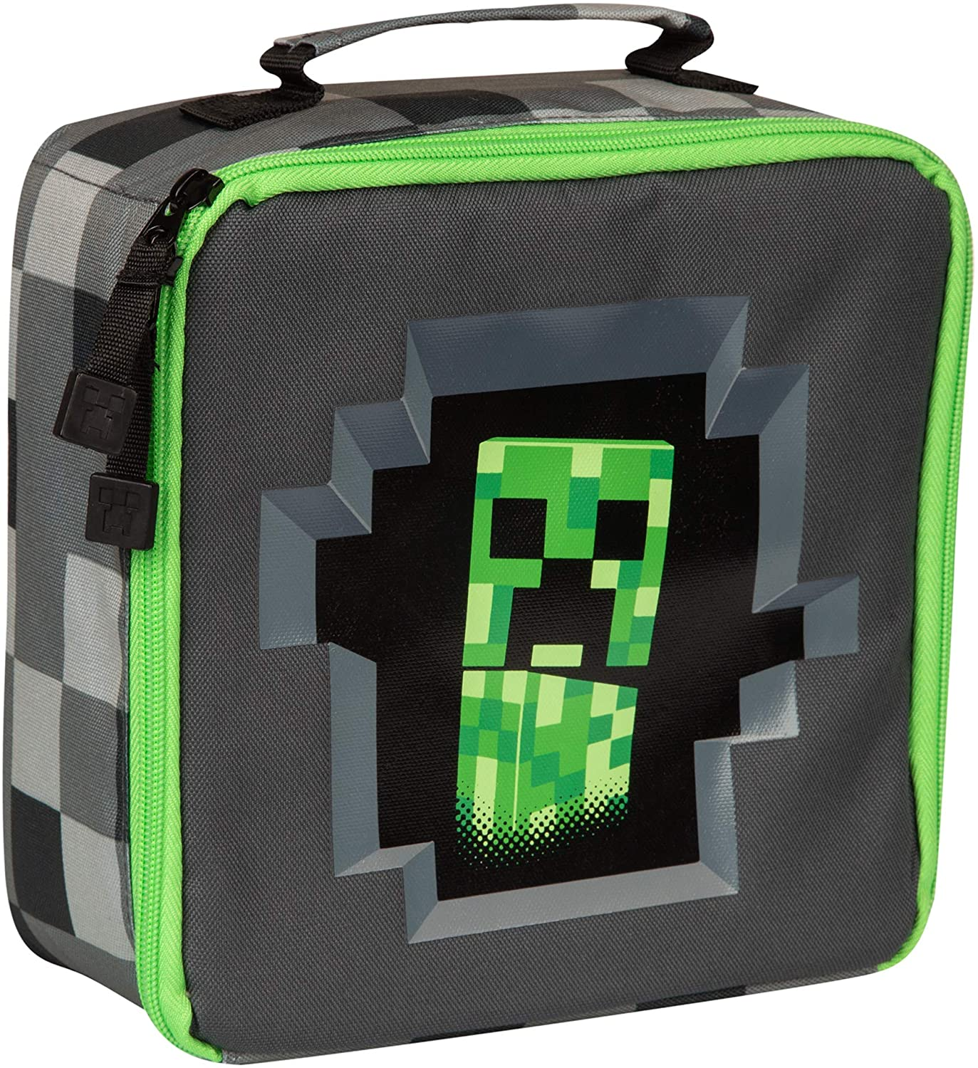 JINX 11 Minecraft Childrens Kids Official Pixelated Grey Creeper Lunch Box