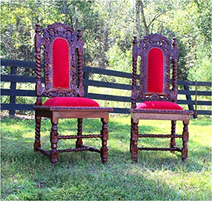 Magnificent Amazon Com Pair Of Dining Room Chairs Red Velvet Downton Uwap Interior Chair Design Uwaporg