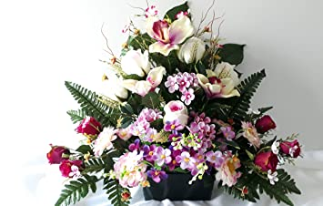 roselynexpress Composition de Fleurs artificielles, lesté Totalement Ciment  en jardinière, pour cimetière. Réalisé par nos Soins, Produit très