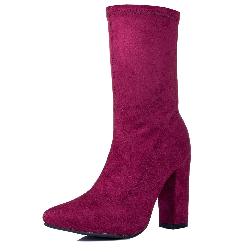 17c39cf60a8d6 Amazon.com | Spylovebuy Dark Horse Women's Wide Calf Block Heel Ankle Boots  Pumps | Ankle & Bootie