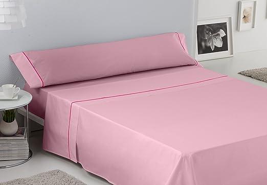 Es-Tela - Juego de sábanas liso con biés, color rosa, cama de 90 ...