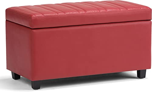 Simpli Home Darcy 34 inch Wide Rectangle Lift Top Storage Ottoman Bench