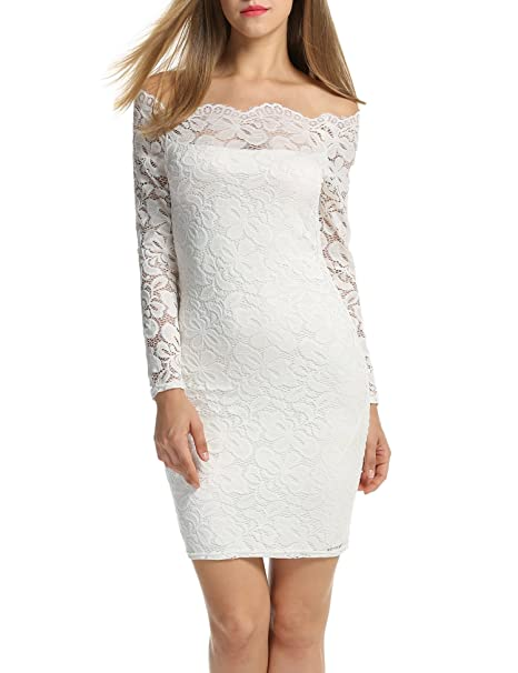d39a7c29df8 ACEVOG Women's Off Shoulder Lace Dress Long Sleeve Bodycon Casual Dresses  (Small, White)