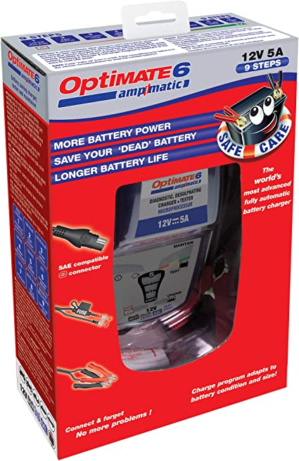 Tecmate OptiMate 6 5Amp Weatherproof Desulfating Charger//Maintainer TM-181