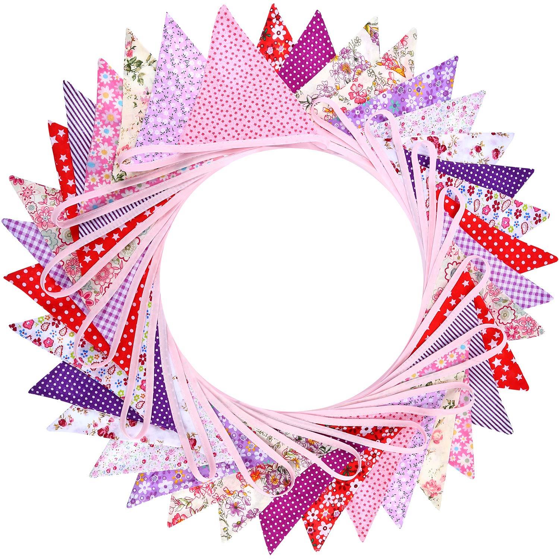 Estilo 2 Banderines de Tela Hechos de 36 Banderas en 18 Patrones de Estilos Diferentes 33 Pies de Banderines de Doble Cara Elegantes para Verano Boda Cumplea/ños Fiesta de Bienvenida a Beb/é