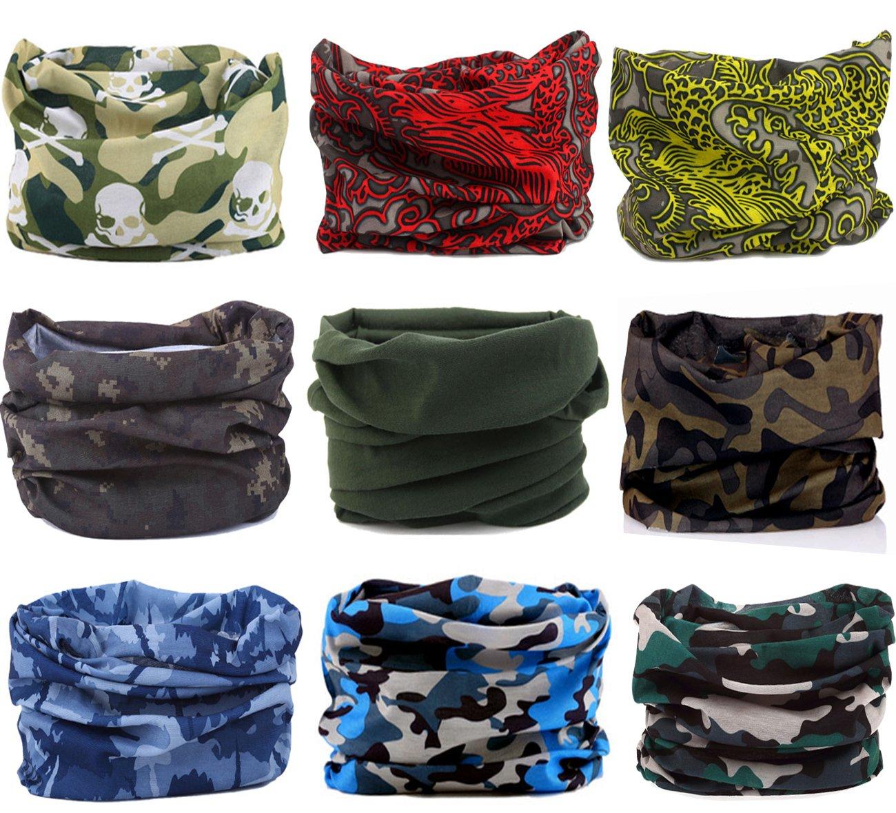 KINGREE 9PCS Headbands, Outdoor Multifunctional Headwear, Sports Magic Scarf, High Elastic Headband with UV Resistance, Athletic Headwrap, Mens Sweatband, Womens Hairband (Camo&MixMatch E2)