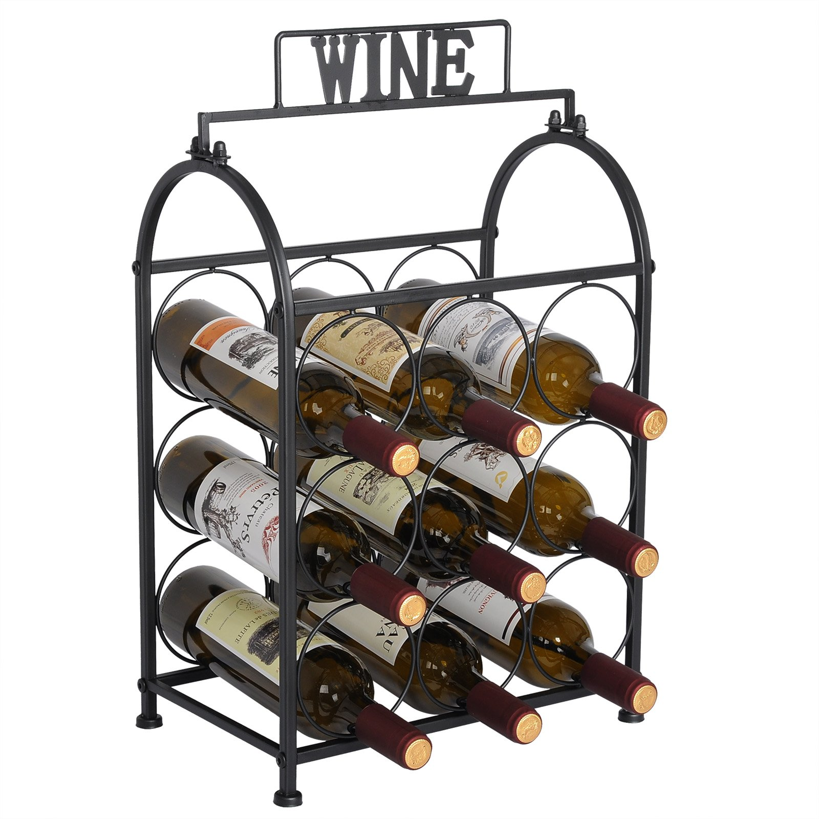 WOLTU Metal Wine Rack Wine Holder for 9 Bottles Storage Display Stand, Black, 22'' High, KIA08blk
