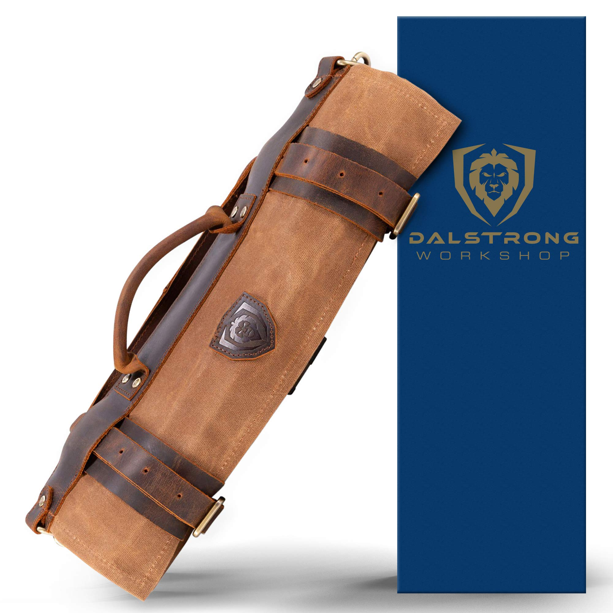 Dalstrong - Nomad Knife Roll - 12oz Heavy Duty Canvas & Top Grain Leather Roll Bag - Desert Drifter (Brown) - 13 Slots - Interior and Rear Zippered Pockets - Blade Travel Storage/Case by Dalstrong (Image #1)