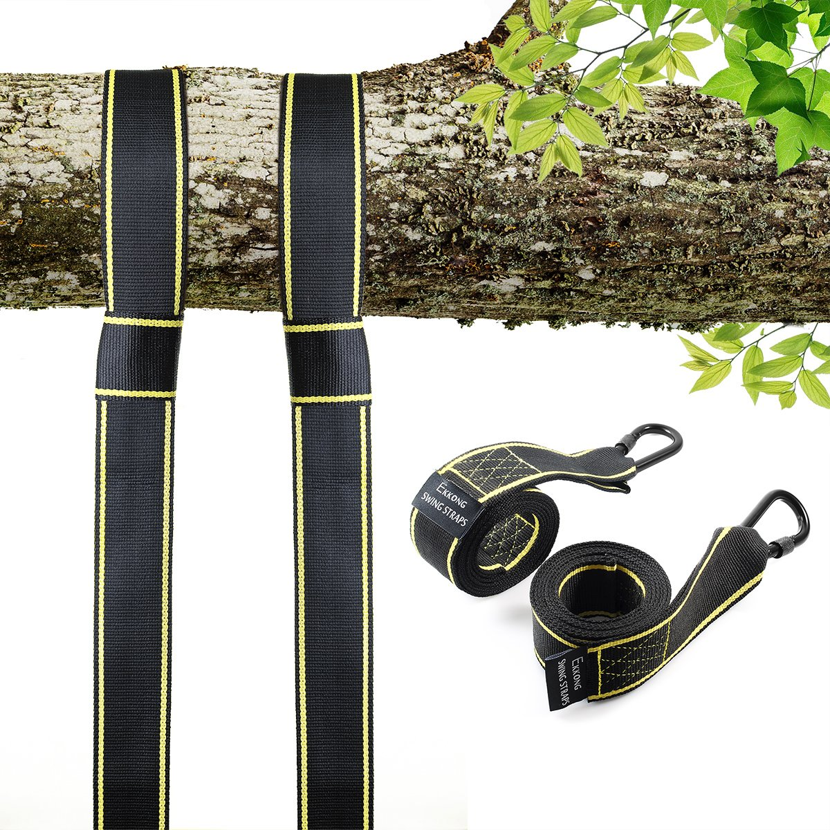Tree Swing Straps Hanging Kit Holds 2800lbs, Fast & Easy Way to Hang Any Swing, 2 Tree Straps(5 FT) and 2 Safety Lock Carabiner Hooks, Perfect For Swings and Hammocks - 100% Waterproof (type 1)