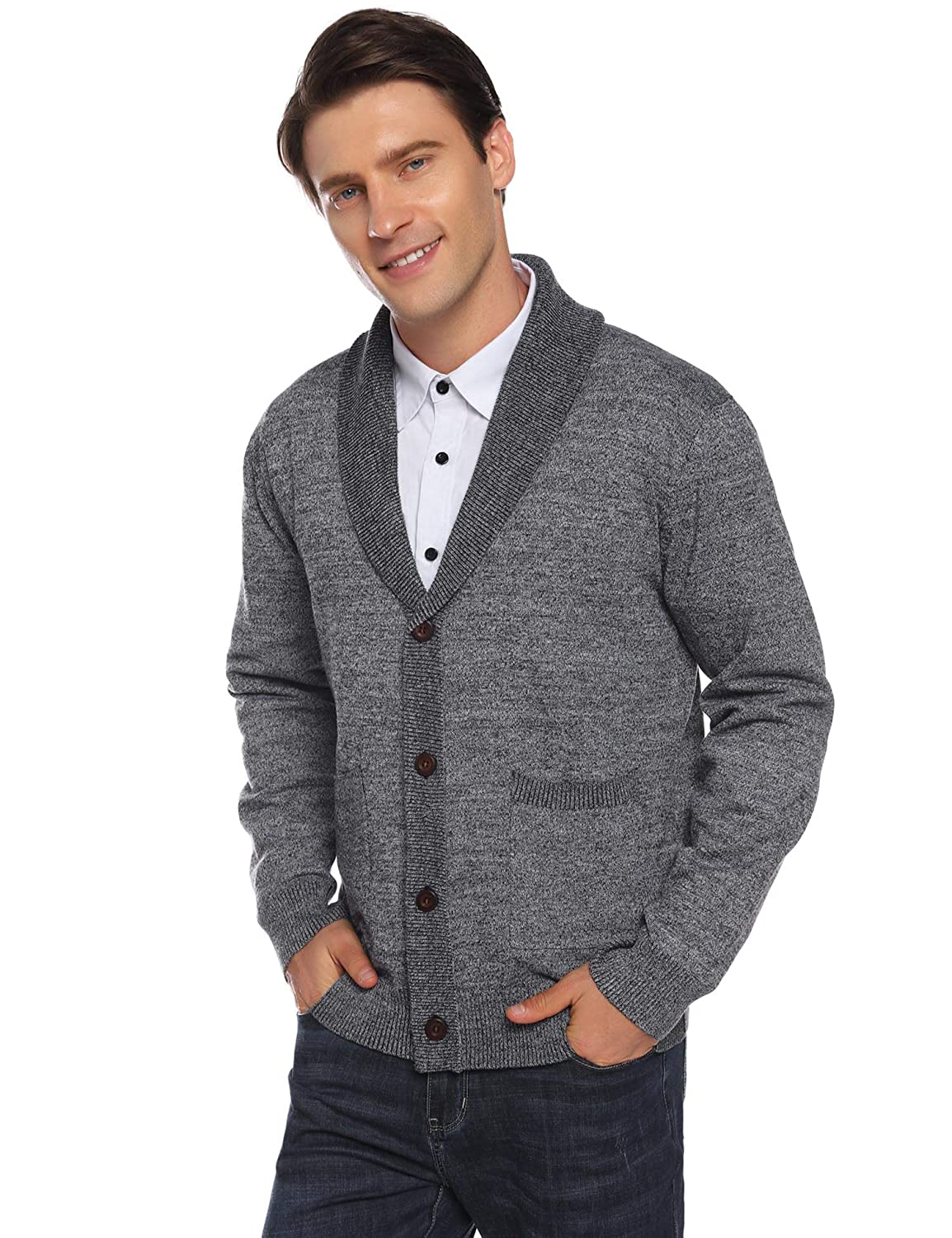 iClosam Mens Knitted Cardigan Lightweight Knitwear Button V-Neck Slim Fit Knitted Cardigans Sweater with Front Pockets