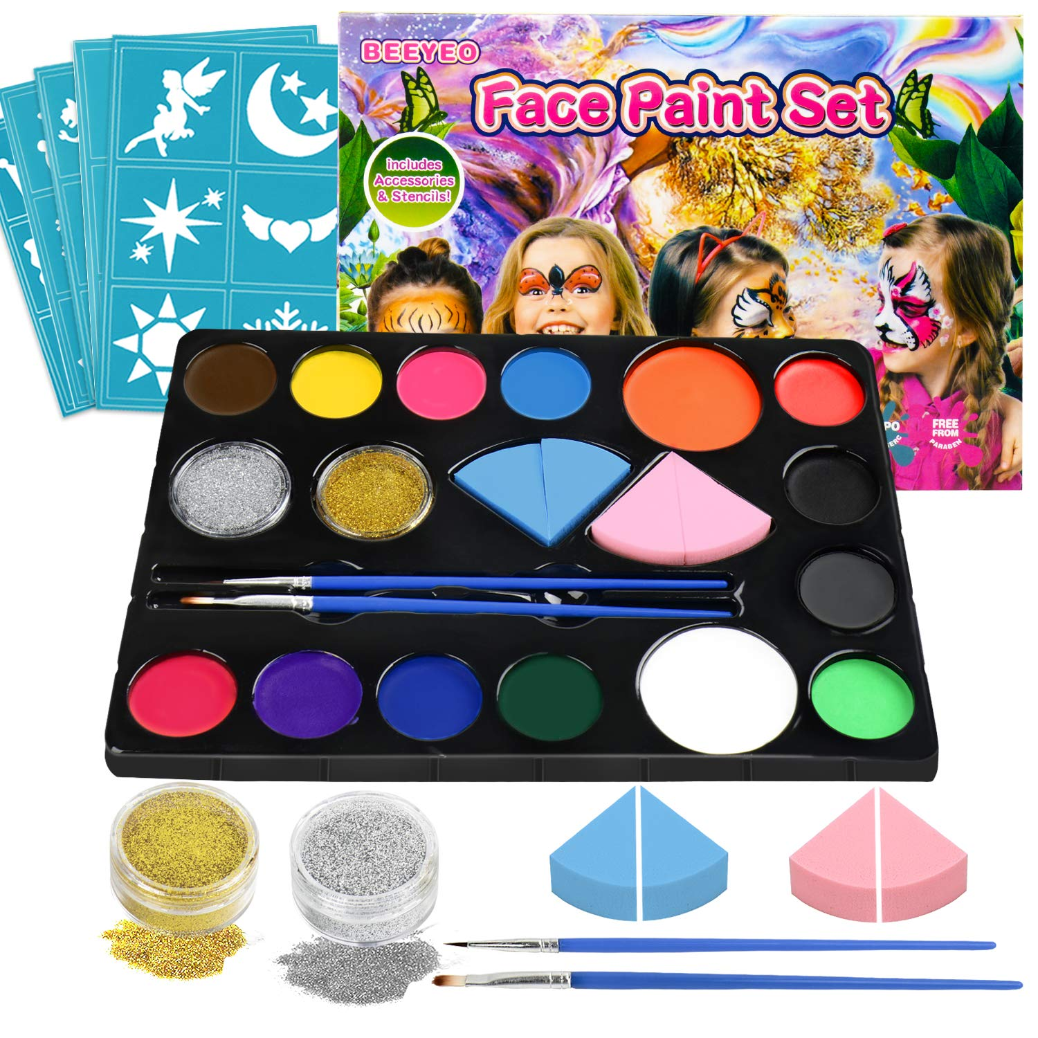 Face Paint Kit for Kids, BEEYEO Face Paint Palette Water Based Non Toxic Face Painting for Sensitive Skin Professional Face Paint Party Supplies with 14 Colors, 2 Glitters, 30 Stencils, 4 Makeup Spong