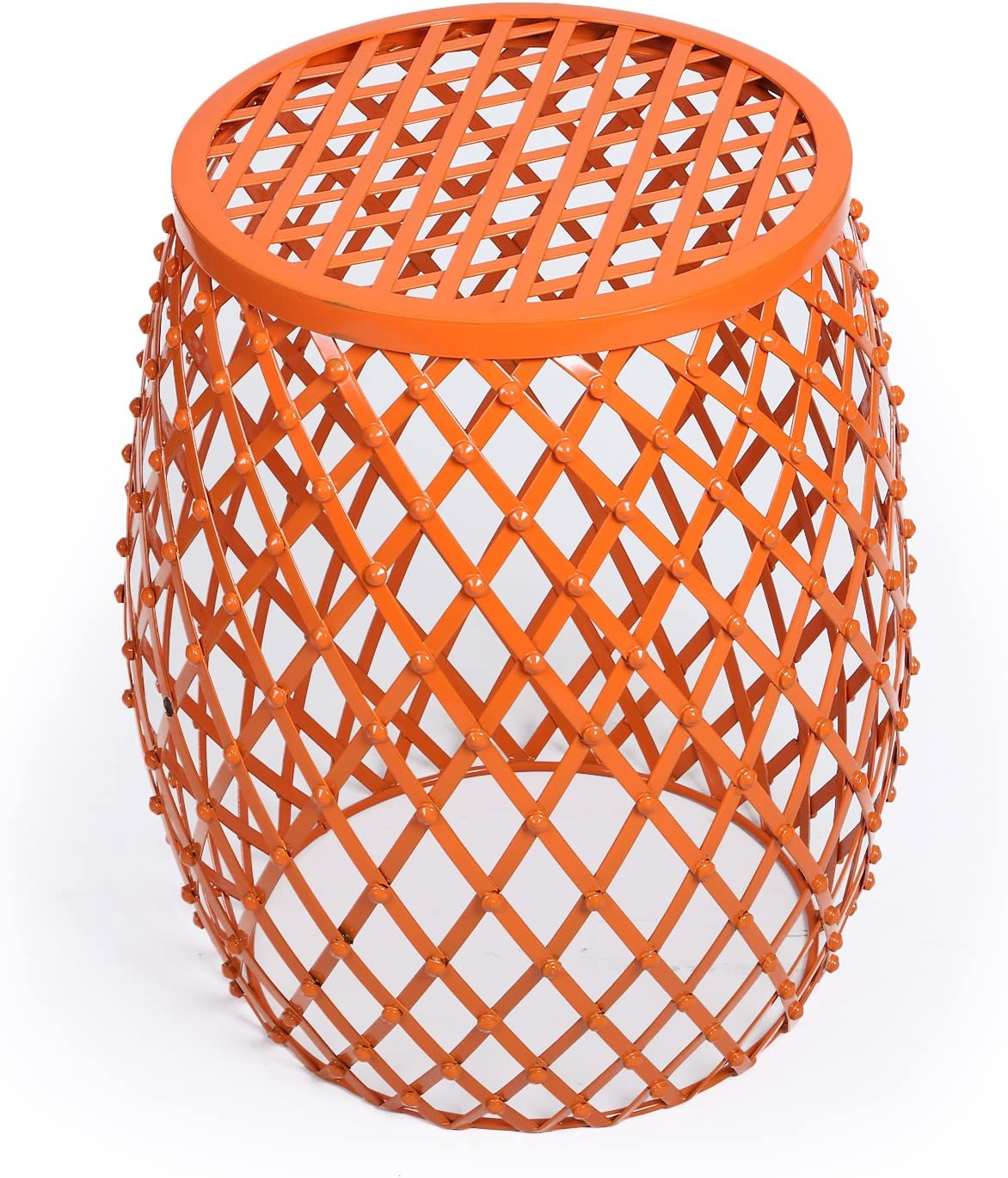 Adeco Home Garden Accents Wire Round Iron Metal Stool Side End Table Plant Stand Chair, Hatched Diamond Pattern, for Indoor Outdoor, Orange Red