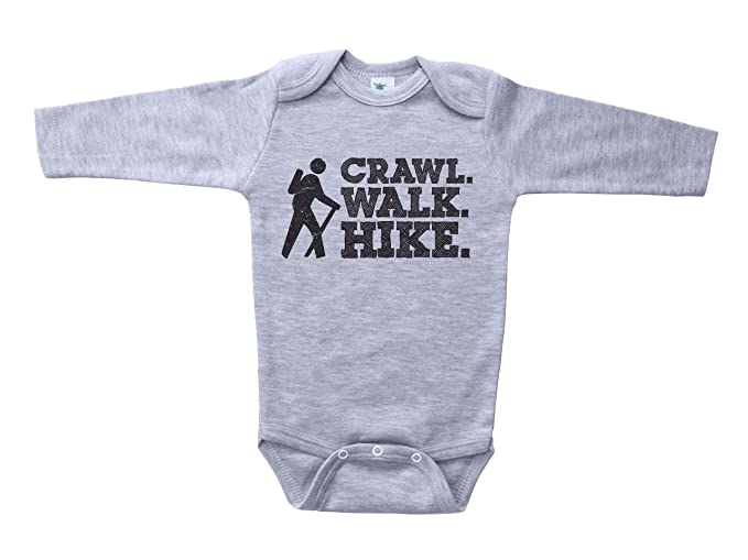 0a68214b7 Amazon.com  Baffle Cute Hiking Onesie Crawl. Walk. Hike. Unisex Baby ...