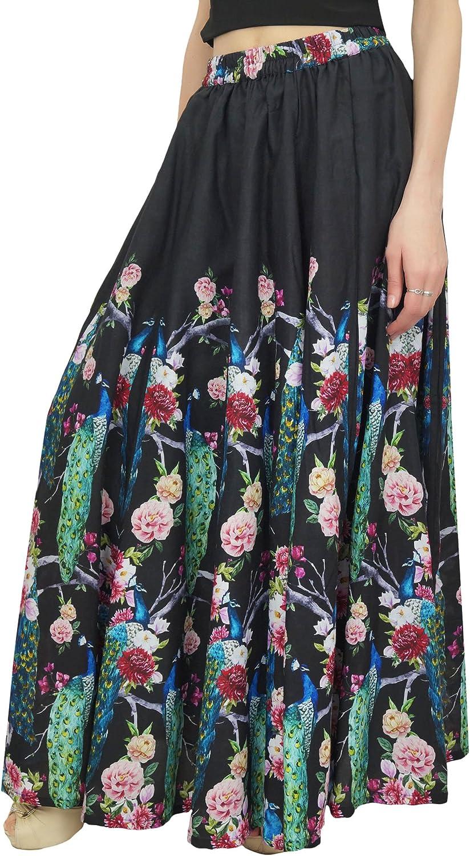 Bimba Falda de Algodon con Estampado de Pavo Real Negro, Falda de ...