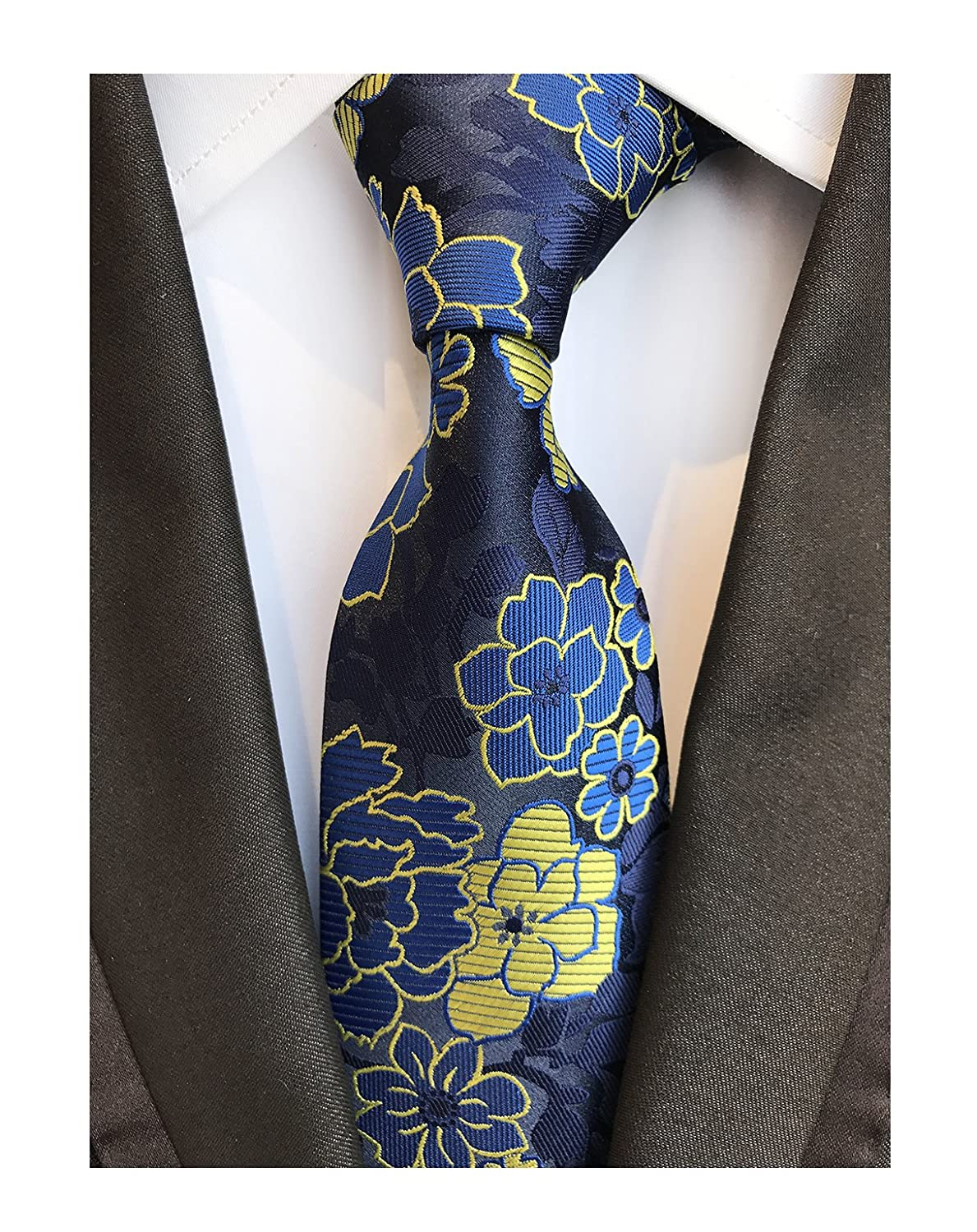 0ba9a2feba53 Amazon.com: Men's Royal Blue Yellow Big Flowers Tie Business Formal Gifts  Necktie for Grooms: Clothing