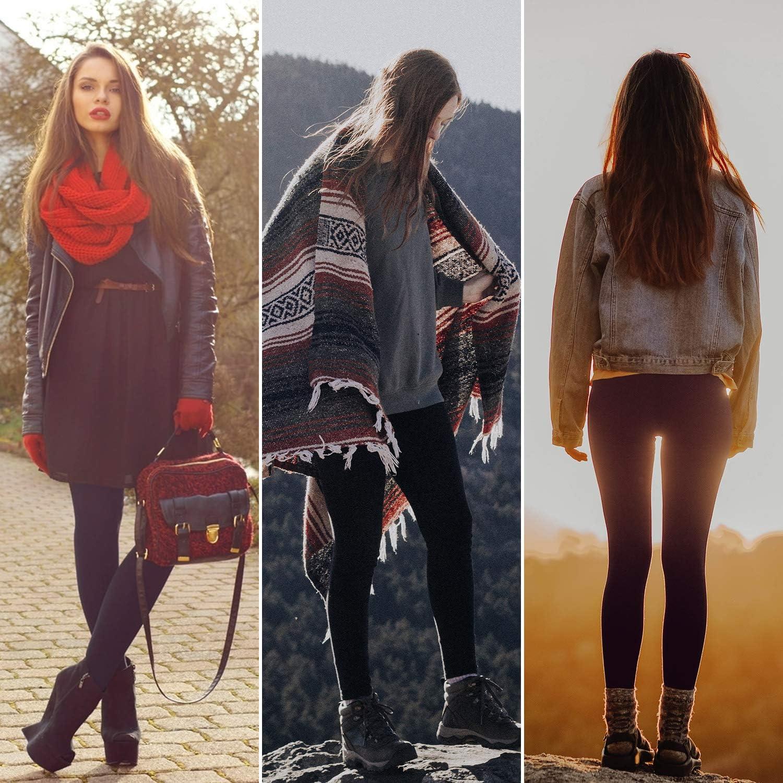 Aiglam Legging Femmes 2 Paires Legging Chaud Femme Pantalons Collants /Élastiques Velours Taille Haute,Thermique Jambi/ères Extensibles pour Fille