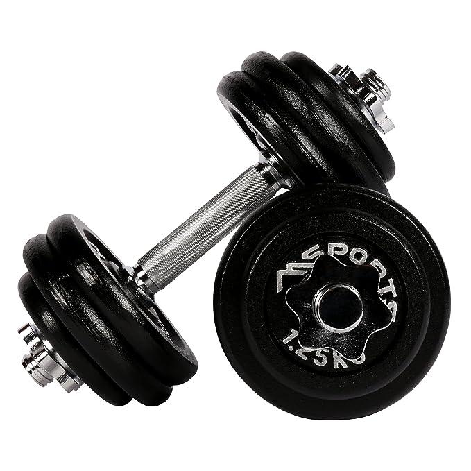 Msports Kurzhantelset Professional aus Gusseisen 30 kg (2 x 15 kg) Hantel