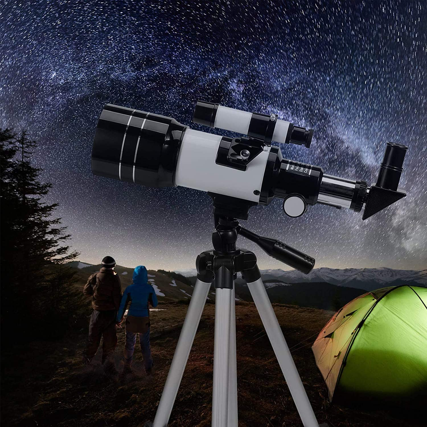 Telescope for Kids &Adults &Beginners,70mm Aperture 300mm AZ Mount, Fully Multi-Coated Optics, Portable Astronomy Refractor Telescope with an Adjustable Tripod, A Phone Adapter