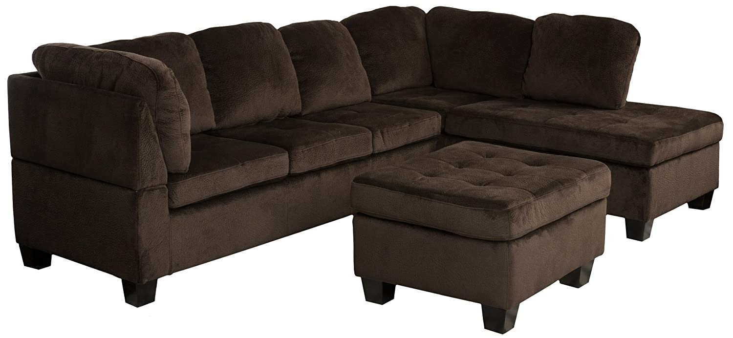 separation shoes 2b33d fd6c5 Great Deal Furniture 296315_New Welsh Chocolate Fabric Sectional Sofa Set