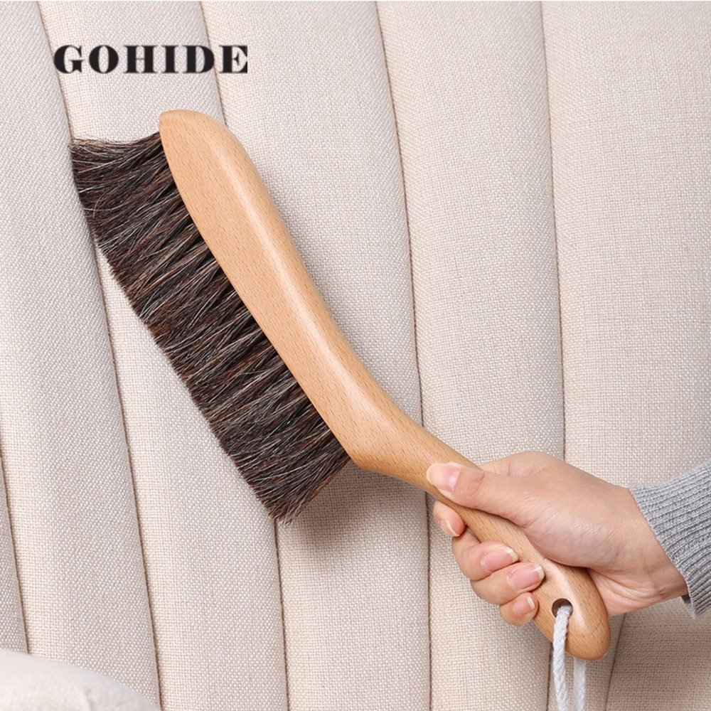 Gohide A Soft Cleaning Brush with Natural Solid Wood Handle and Natural Bristle Brush for Clothes Cleaning, Dust Hair, Sofa, Bed, Bedspread, Carpet Cleaning L:34.5cm, W:8.5cm, H:2.0cm (L) XCX by GOHIDE (Image #3)