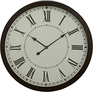Benzara Deco 79 92264 Modern Iron and Glass Round Vintage Wall Clock 30""