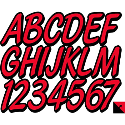 "Whipline Solid Red/Black 3"" Alpha-Numeric Registration Identification Numbers Stickers Decals for Boats & Personal Watercraft: Automotive"
