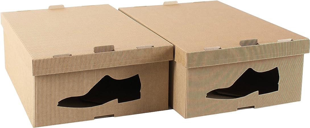 STYLE4HOME - Juego de 2 Cajas de Almacenamiento de Cartón para Zapatos Debajo de la Cama, Armario Plegable, Organizador para Hombre: Amazon.es: Hogar
