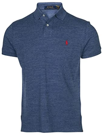 Polo Ralph Lauren Men Custom Fit Mesh Polo Shirt, Small, Blue Htr