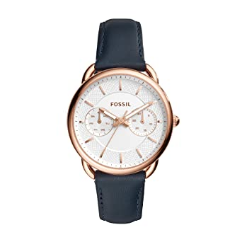 51706d84d82 Fossil Women's Tailor Stainless Steel Quartz Watch with Leather Calfskin  Strap, Blue, 16 (