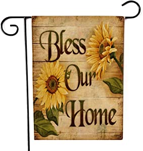 """Bless Our Home Garden Flag Double-Sided Farmhouse Autumn Yard Burlap Banner,Flag for Fall,Thanksgiving Indoor Outdoor Decoration 12.6"""" x 18.5"""""""
