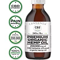 CB2 Organic Hemp Oil - Conquer Pain & Anxiety - 200,000mg/240mL/8oz + CBD Oil Activators (1800mg Natural Terpene Extract) - Excellent for Pain, Inflammation, Anxiety, and Stress Relief