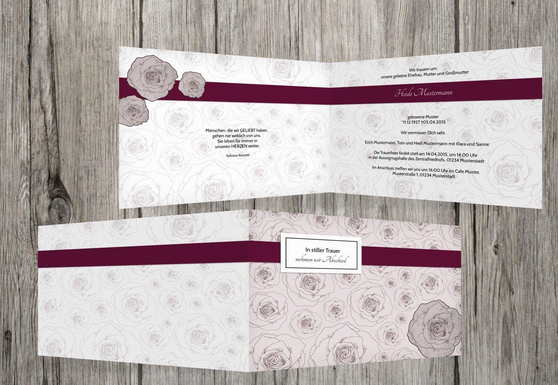 Tarjeta de luto Rose Mar, dunklesRotLila, 60 Karten