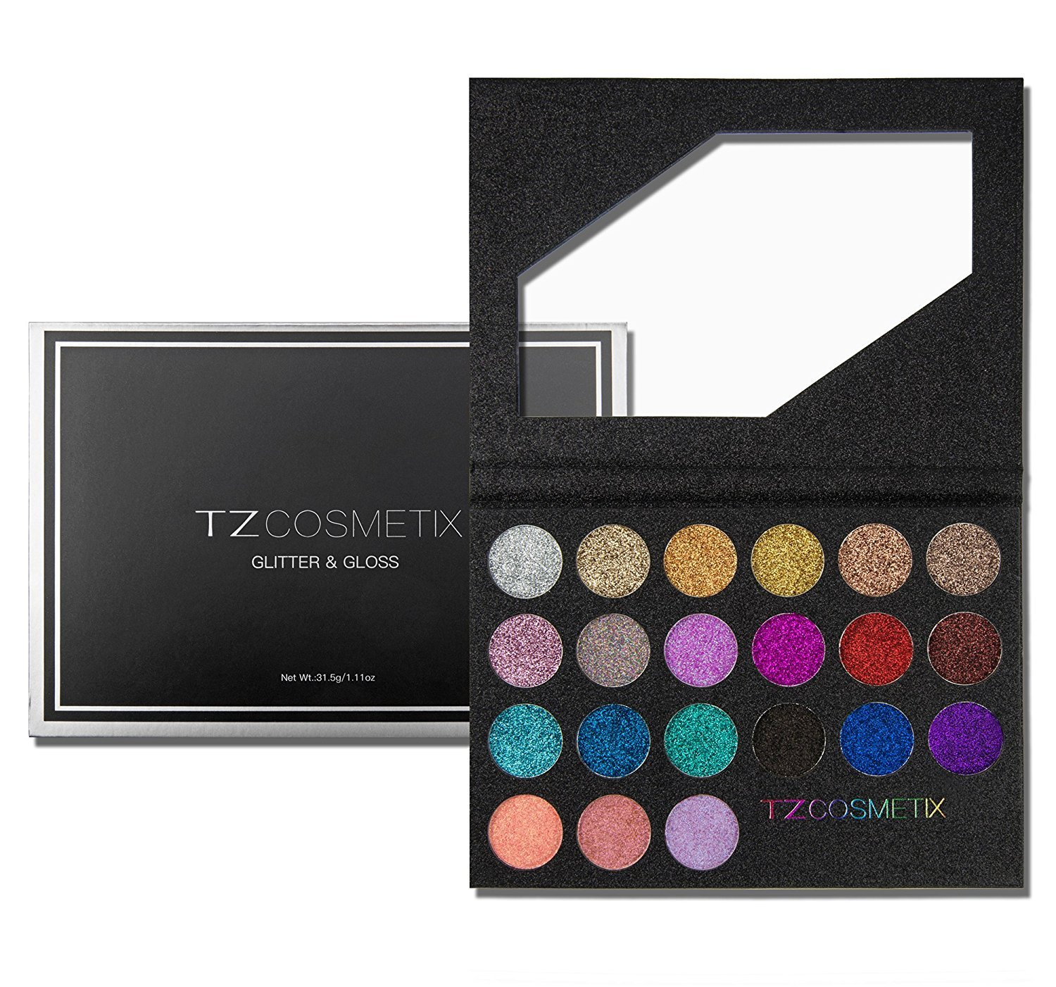 TZ COSMETIX - Pro 21 Shades Glitter & Gloss Makeup Palette - include: 18 Glitter Eyeshadow and 3 Lipgloss - Pressed Glitter Eyeshadow Palette wz-21 TZ Cosmetics