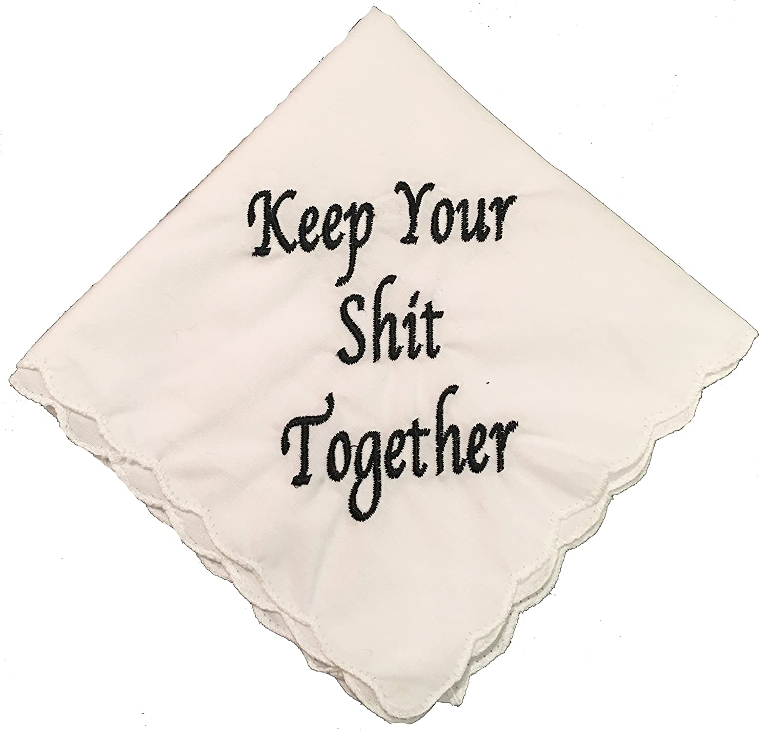 Keep Your Shit Together Wedding Handkerchief- Embroidered- By Wedding Tokens- Bridesmaid Gift