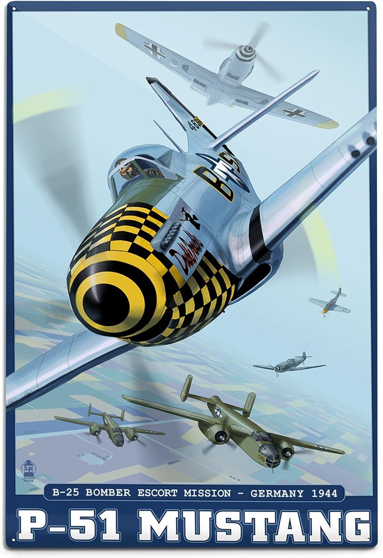 Lantern Press B-25 Bomber Escort Mission - P-51 Mustang (12x18 Aluminum Wall Sign, Wall Decor Ready to Hang)